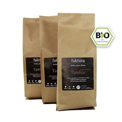 3 Tüten unserer Kaffeesorten Tambor in den Varianten ganze Bohne oder gemahlen in der Größe 500g