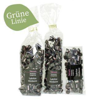 3 Tüten von unseren Rockbonbons in den Größen 40 g, 80 g und 150 g mit Lakritze-Himbeer - Geschmack