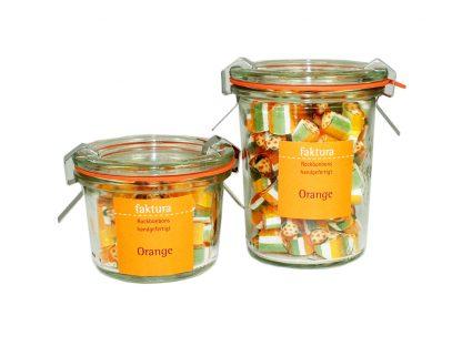 großes und kleines Weck-Glas mit Rockbonbons der Sorte Orange