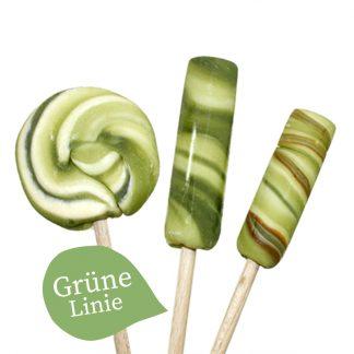 drei Lollis verschiedene Größen der Sorte Apfel-Sauerkirsche grüne Linie