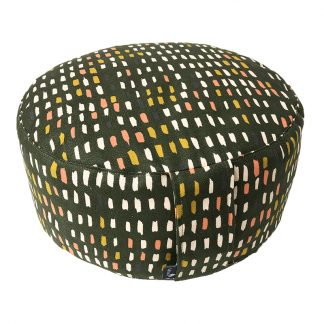 unsere schönen Yogakissen. Dieses Modell formt sich perfekt an und hat einen schönen Textilüberzug in mit kleinen Pinseltupfern als Muster